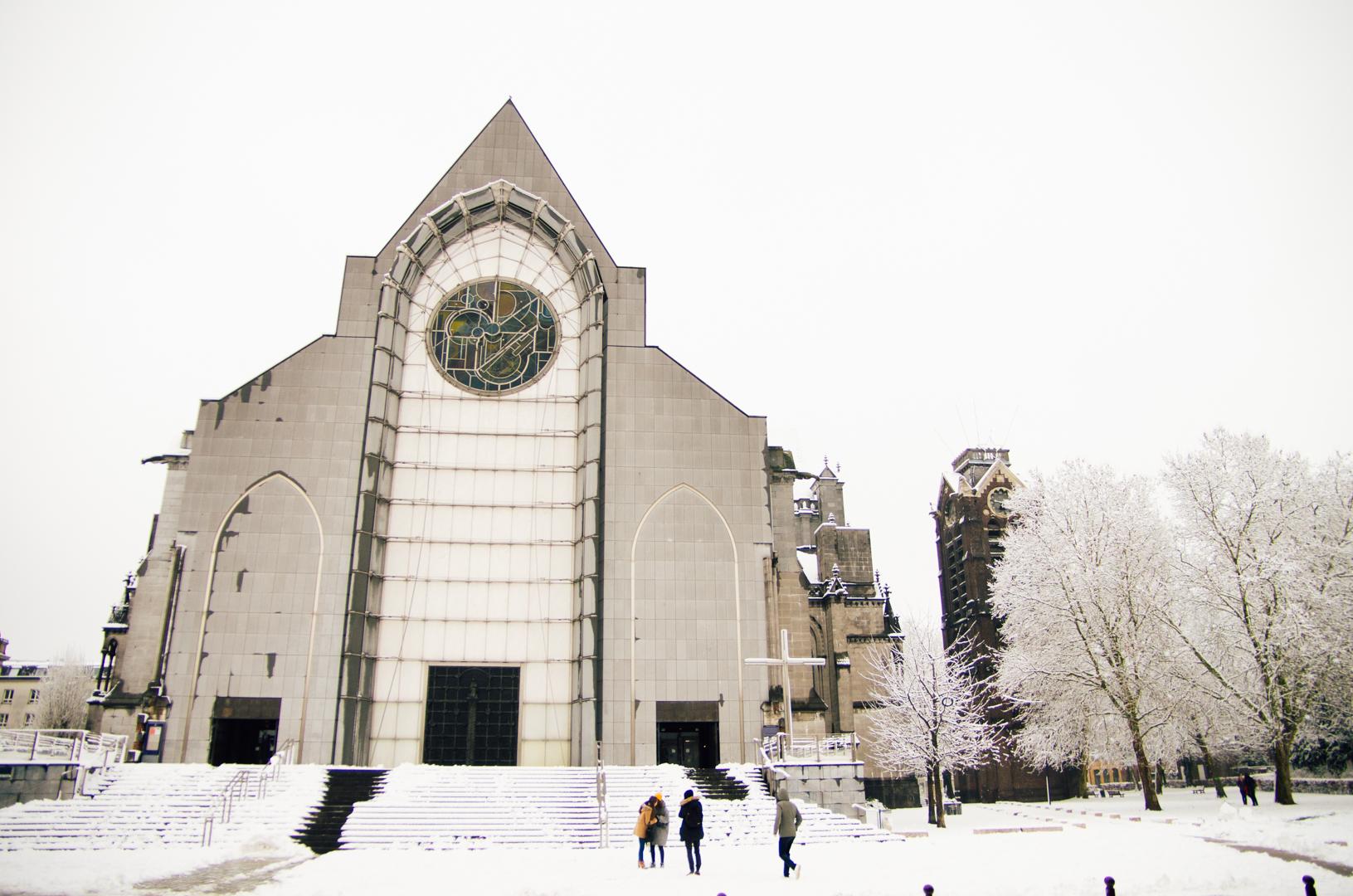 façade neige cathédrale notre dame de la treille lille 8761