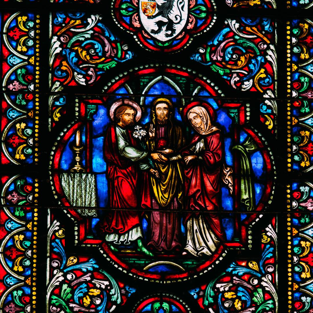le mariage vitrail chapelle absidiale notre dame de la treille lille